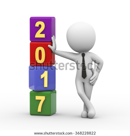3d rendering of man standing with happy new year 2017 cubes.  - stock photo