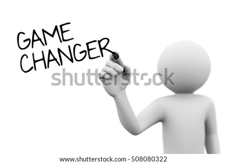 3d rendering of man writing game changer on screen with marker. 3d white person people man
