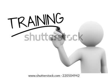 3d rendering of man writing training  with marker on transparent glass screen. 3d white people character - stock photo