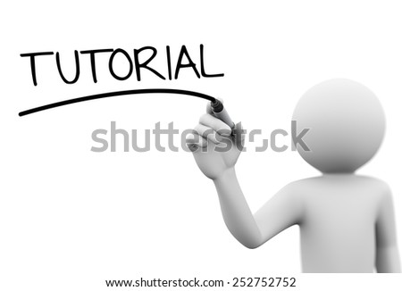 3d rendering of man writing tutorial with marker on transparent glass screen. 3d white people character - stock photo