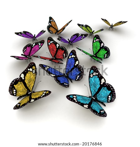 3D rendering of many colourful butterflies with solar panel texture - stock photo
