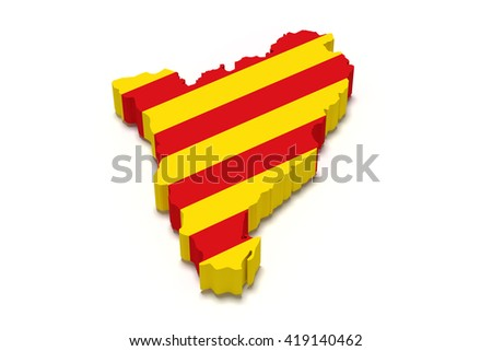 3d rendering of  map of Catalonia with Catalonia flag