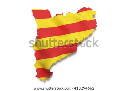 3d rendering of  map of Catalonia with Catalonia flag on background.