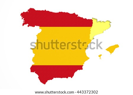 3d rendering of  map of Catalonia with Spain map and flag.