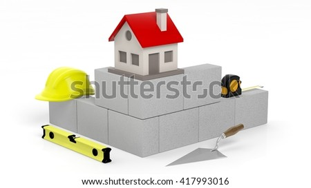 3D rendering of masonry tools and bricks with house symbol, isolated on white. - stock photo