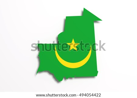 3d rendering of Mauritania map and flag on white background