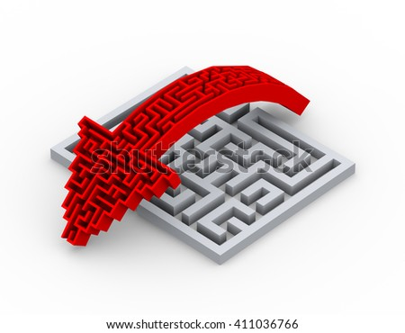 3d rendering of maze shape arrow jumping over complicated labyrinth puzzle - stock photo