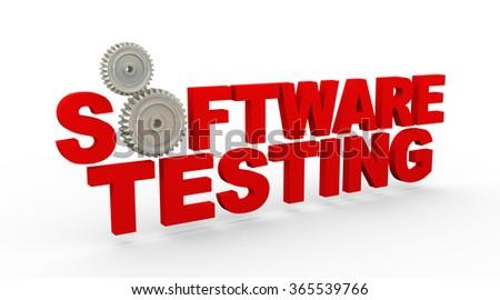 3d rendering of metal cogwheel gears and text beta software testing - stock photo