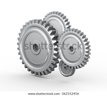 3d rendering of metal cogwheel gears on white background - stock photo