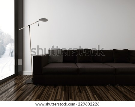 3D Rendering of Minimalist sombre living room interior with a brown upholstered couch on a dark wood parquet floor alongside a floor-to-ceiling view window, partial view - stock photo