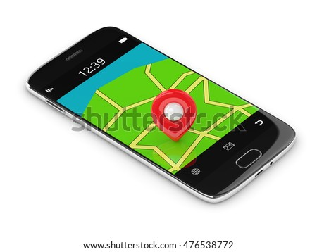 3d rendering of mobile phone with map ang gps isolated over white background