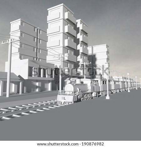 3d rendering of model building in the background in black and white.