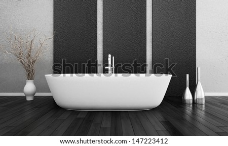 3D rendering of modern bathroom interior - stock photo