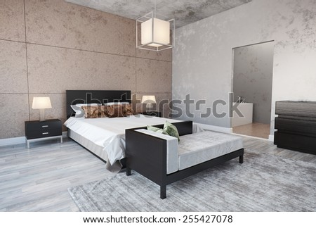 3d rendering of modern bedroom interior with a bed