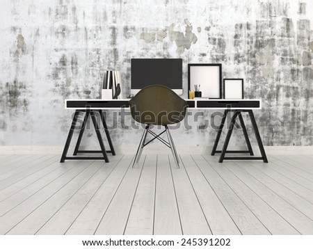 3D Rendering of Modern black and grey office interior with a trestle desk with desktop monitor, chair and blank picture frames on a bare hardwood floor against an abstract patterned grey wall - stock photo