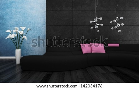 3d rendering of modern black couch with pink pillows - stock photo