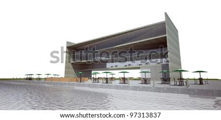 3d Rendering Modern Building Restaurant Exterior Stock Illustration ...