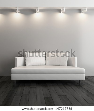 3D rendering of modern couch against gray wall - stock photo
