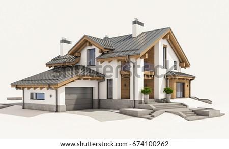 3d rendering modern cozy house chalet stock illustration 674100268 shutterstock. Black Bedroom Furniture Sets. Home Design Ideas