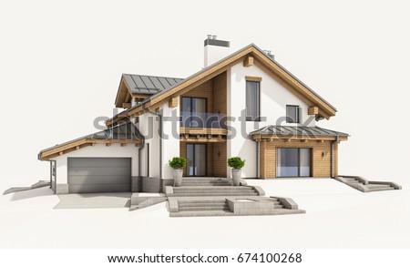 3 d rendering modern cozy house chalet illustration de for Chalet style homes for sale