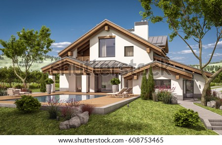 3d rendering modern cozy house chalet stock illustration for Large garage for sale