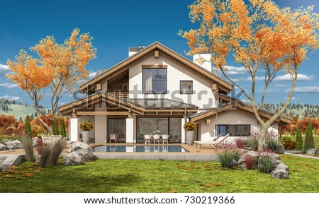 Nice home stock images royalty free images vectors for Chalet style homes for sale