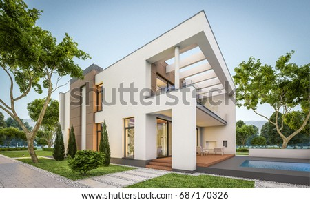 Modern house stock images royalty free images vectors for Big garage for rent