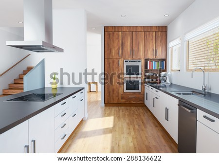 3D rendering of Modern kitchen interior with furnitures. - stock photo