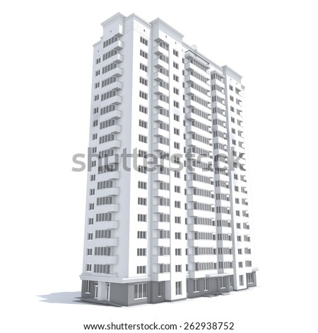 3d rendering of modern multi-storey residential building isolated on white - stock photo