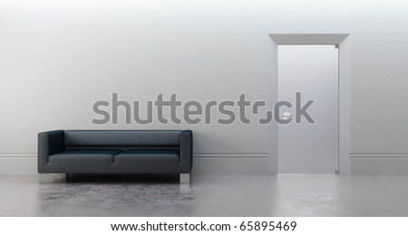 3d rendering of modern office - stock photo