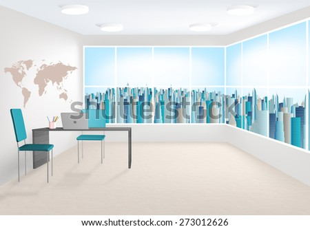 3D rendering of modern office interior with large windows