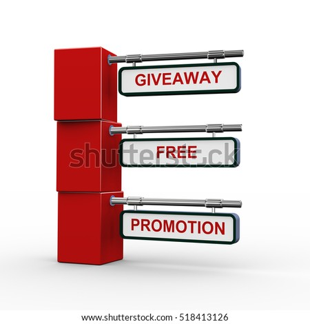 3d rendering of modern signpost presentation of giveaway promotion