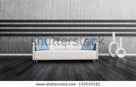 3d rendering of modern white couch in front of gray wall - stock photo