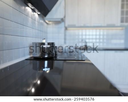 3d rendering of modern white kitchen clean interior design - stock photo