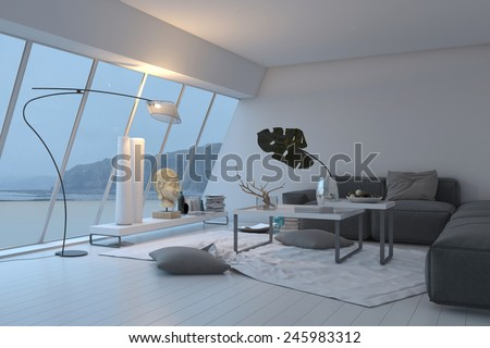 3D Rendering of Modern white spacious living room interior with panoramic sloped windows overlooking the view furnished with a comfortable grey lounge suite illuminated with lamps - stock photo