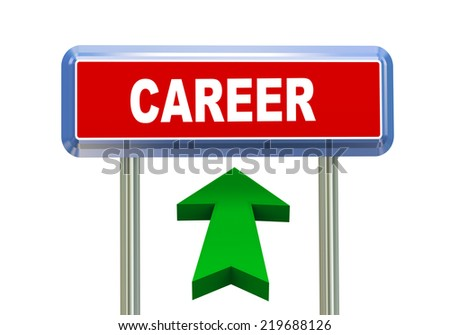 3d rendering of moving arrow and roadsign singpost of of concept of career - stock photo