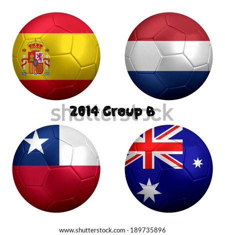 3D rendering of national flag on ball for Soccer Championship 2014, Brazil. Group B. Spain, Netherlands, Chile, Australia. - stock photo