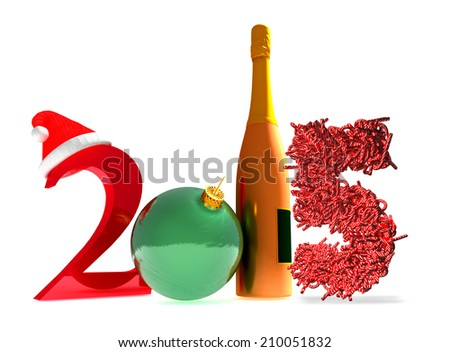 3d rendering of new year 2015 and happy new year greetings