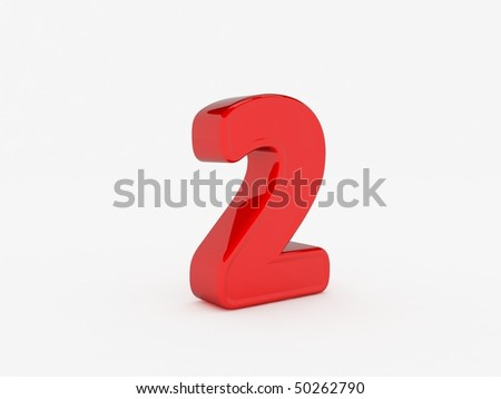 3D rendering of number 2 - stock photo