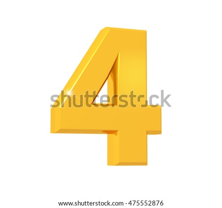 3D rendering of number four made of sparkling gold with reflection isolated on white background.