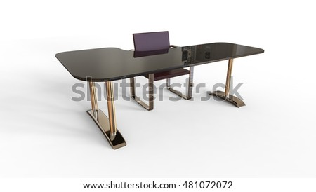 3D rendering of office table with chair
