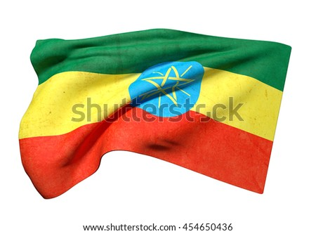 3d rendering of old  Ethiopia flag waving on a white background - stock photo