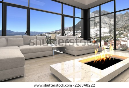 3D Rendering of Open Fireplace at Elegant Architectural Living Room Design with Transparent Glass Walls. - stock photo