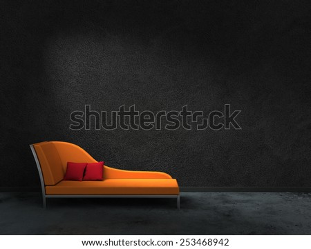 3D rendering of orange recamier with black wall to present your images - stock photo