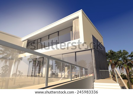 3D Rendering of Outdoor patio and living rooms of a luxury modern house in the tropics with a rectanglaur blocky design and large windows - stock photo