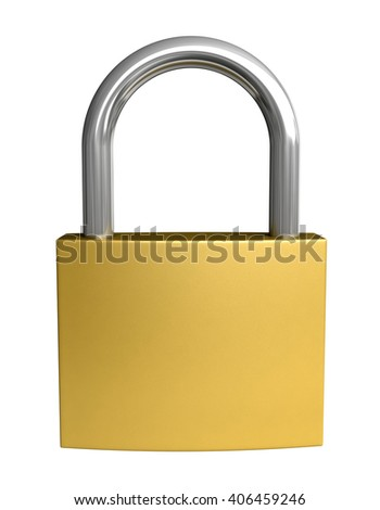 3d rendering of padlock isolated on white background - stock photo