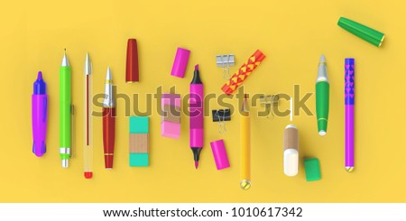 https://thumb9.shutterstock.com/display_pic_with_logo/3095597/1010617342/stock-photo--d-rendering-of-paint-and-write-tools-set-stationery-lying-in-a-row-on-the-yellow-background-1010617342.jpg