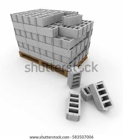 3D rendering of Pallets of stacked cinder blocks