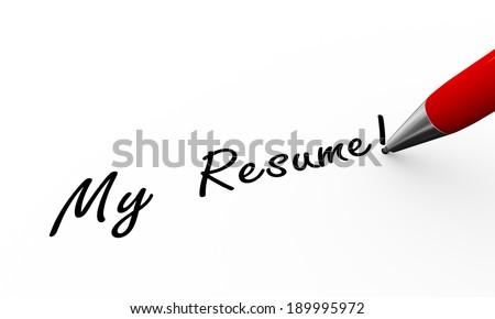 3d rendering of pen writing my resume on paper - stock photo