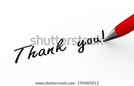 3d rendering of pen writing thank you - stock photo